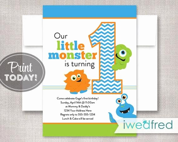 Monster High Invitations Templates Inspirational Little Monster Invitation Birthday Printable Template First