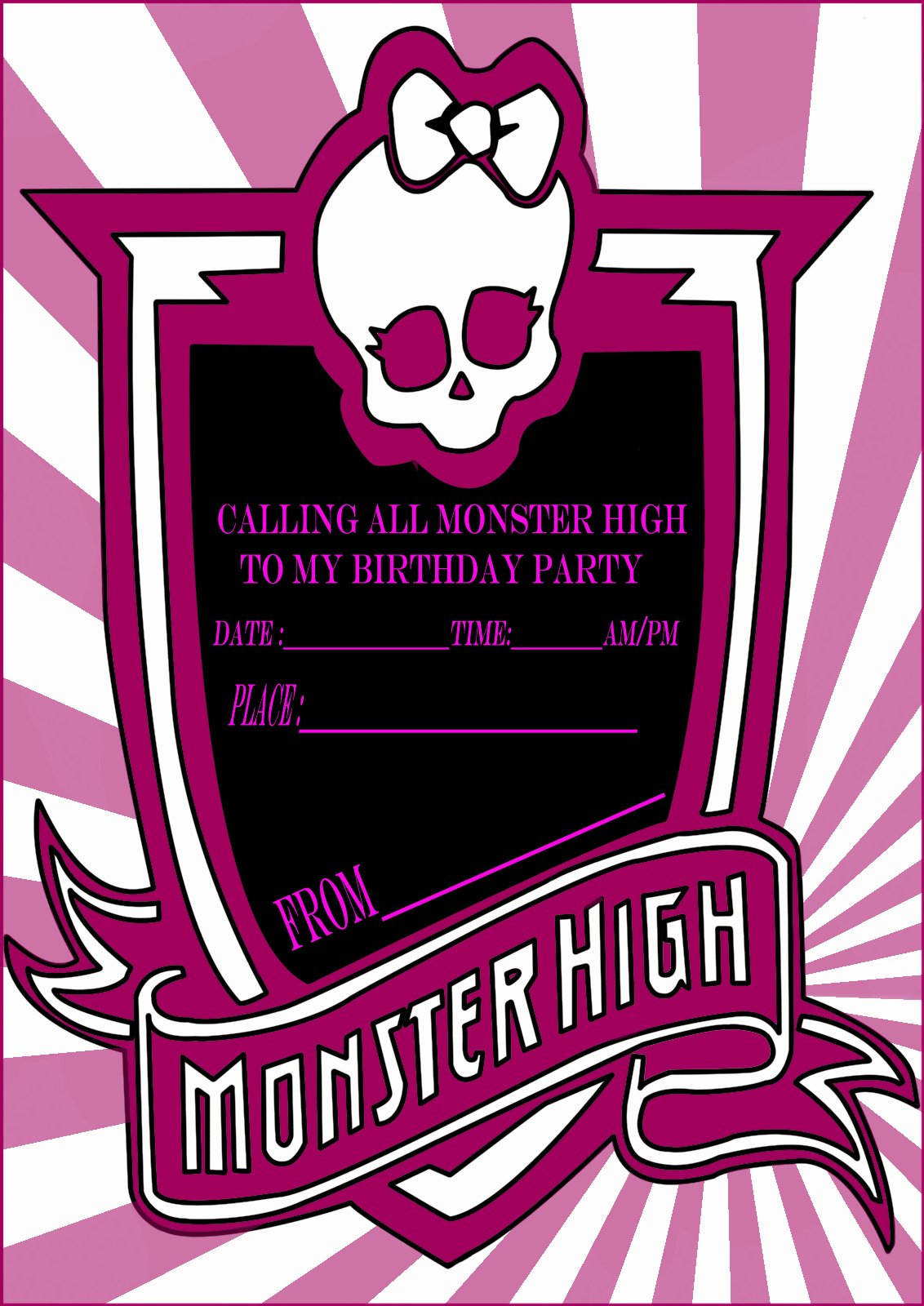 Monster High Invitations Templates Inspirational Monster High Party Invitation Card