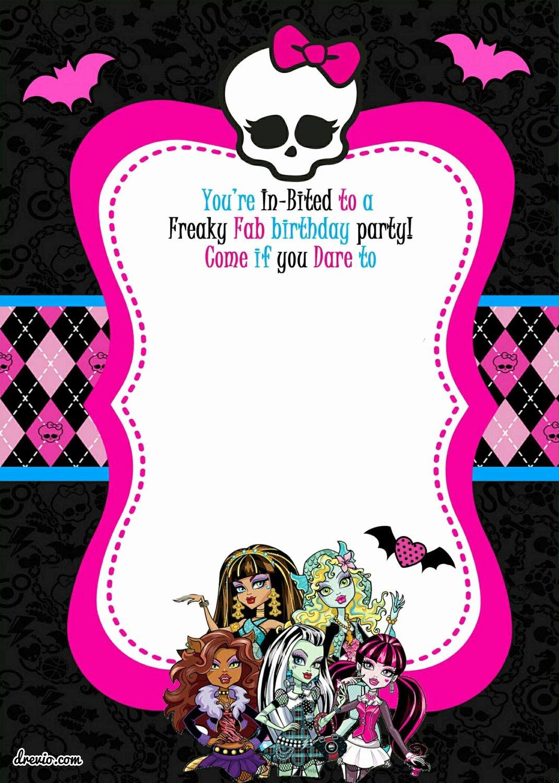 Monster High Invitations Templates Inspirational Monster High Printable Birthday Invitations