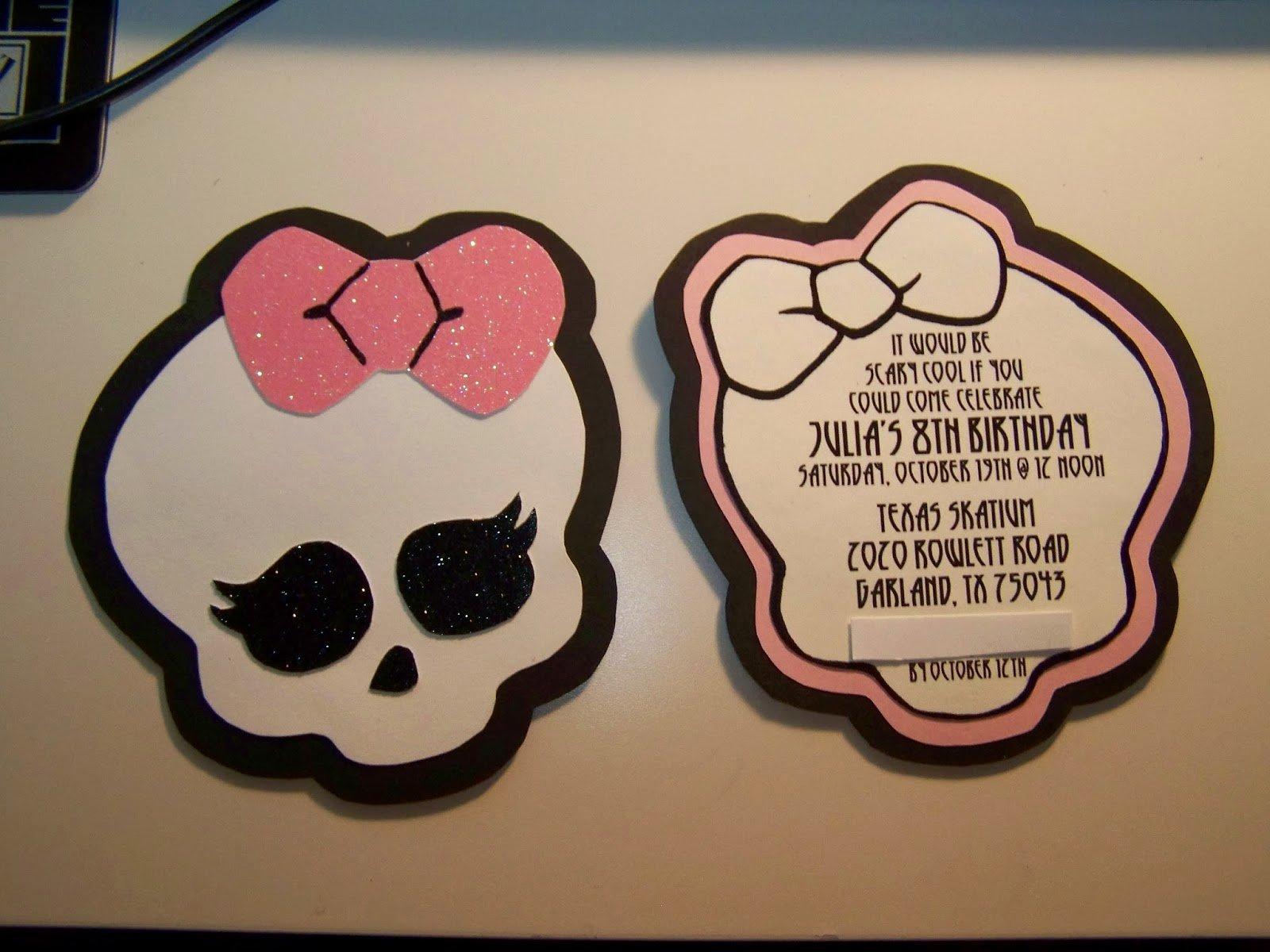 Monster High Invitations Templates Luxury Little Root Creations Handmade Monster High Invitations