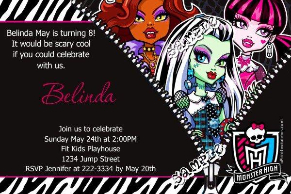 Monster High Invitations Templates Luxury Monster High Zebra Print Birthday Invitations