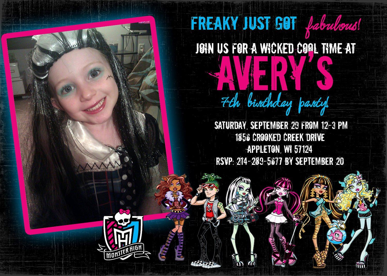 Monster High Invitations Templates Unique Monster High Birthday Invitation Print Your Own