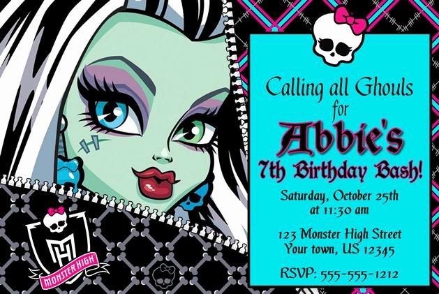 Monster High Invitations Templates Unique Monster High Custom Birthday Ticket or 4x6 Invitations U