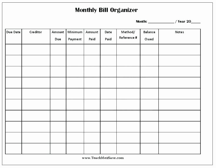Monthly Bill Tracker Excel Fresh Bill Payment organizer – Hairfiberproductsub