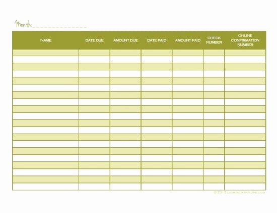 Monthly Bill Tracker Excel Inspirational 6 Monthly Bill Tracker Templates – Word Templates