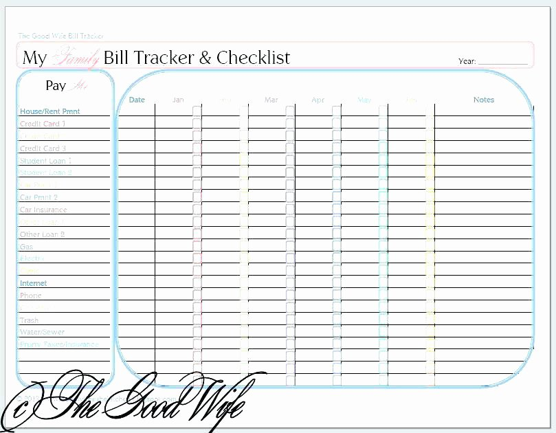Monthly Bill Tracker Excel Lovely Monthly Bill organizer – Friendlyga