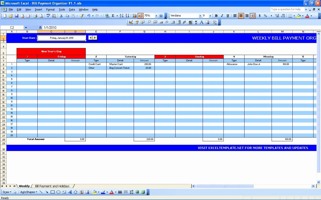 Monthly Bill Tracker Excel Luxury Bill Payment Calendar