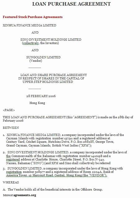 Mortgage Buyout Agreement Beautiful Loan Purchase Agreement Sample Loan Purchase Agreement