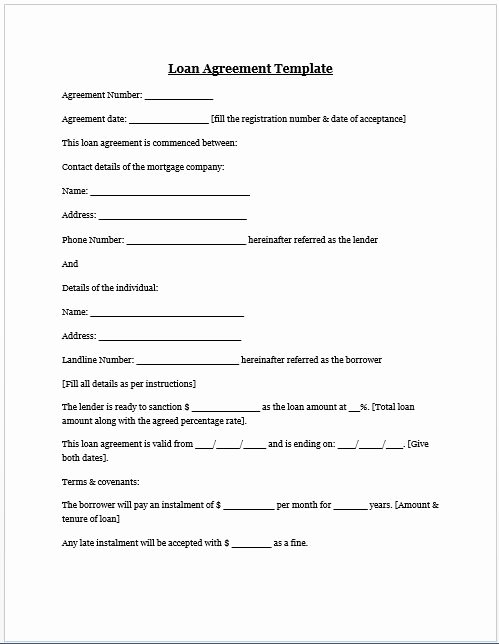 Mortgage Buyout Agreement Inspirational Loan Agreement Template