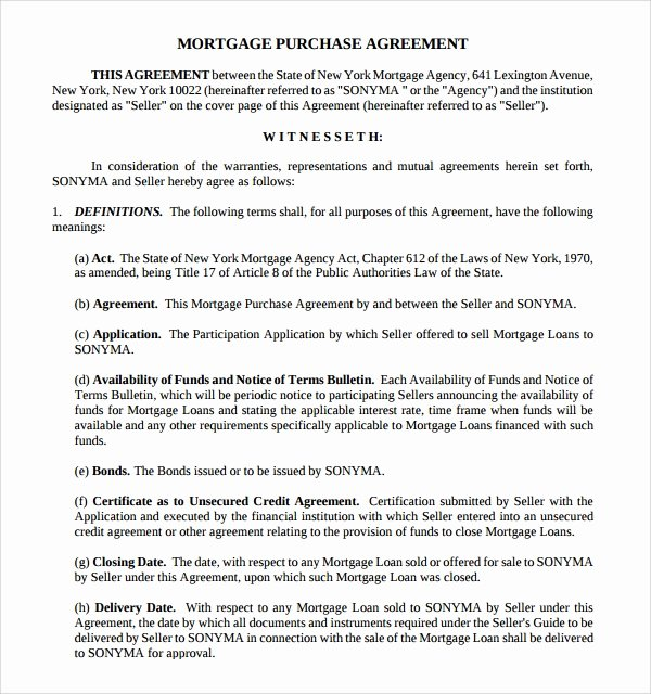 Mortgage Buyout Agreement Luxury 11 Mortgage Agreement Templates