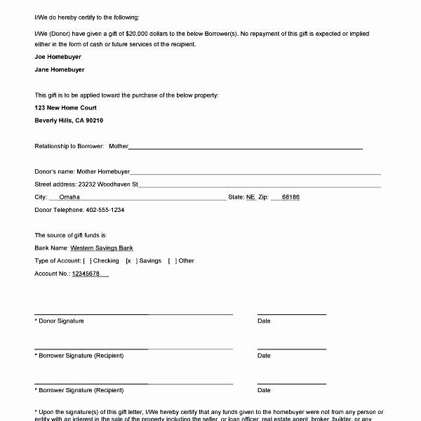 Mortgage Gift Letter Template Awesome Fha Down Payment Gift Letter Template