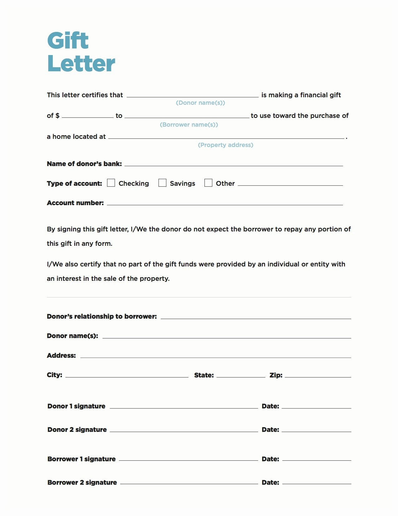 Mortgage Gift Letter Template Elegant Gift Money Can Meet Your Down Payment Needs Nerdwallet