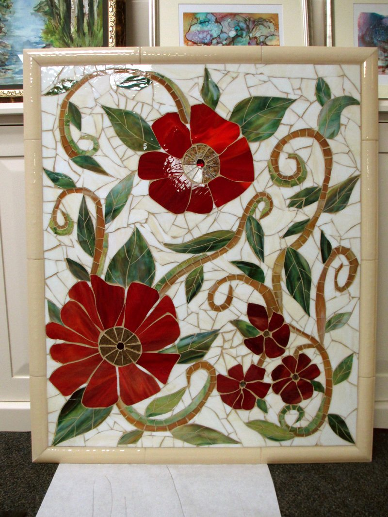 Mosaic Flower Designs Best Of Red Floral Mosaic Mural