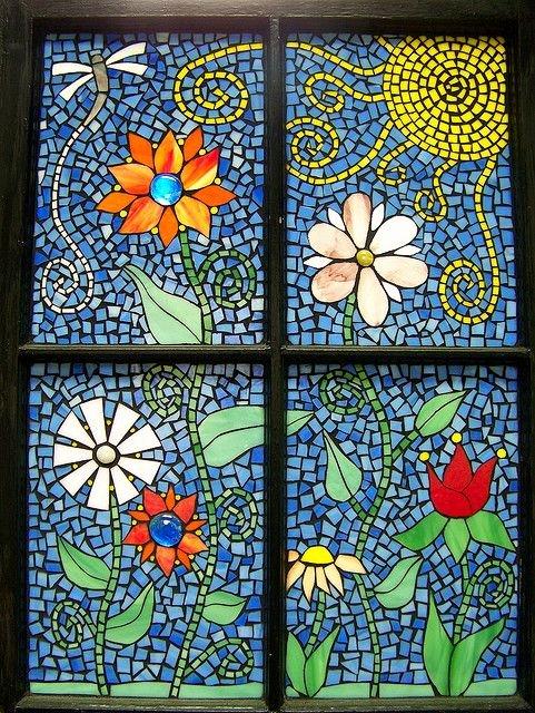 Mosaic Flower Designs Fresh Funky Flowers Mosaic Window Mosaic