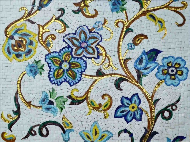 Mosaic Flower Designs Fresh Mosaic Designs Goldy Posy Contemporary Tile Murals