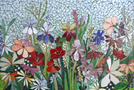Mosaic Flower Designs Lovely Mosaic Mural Floral Glass Garden Mosaic Panel for