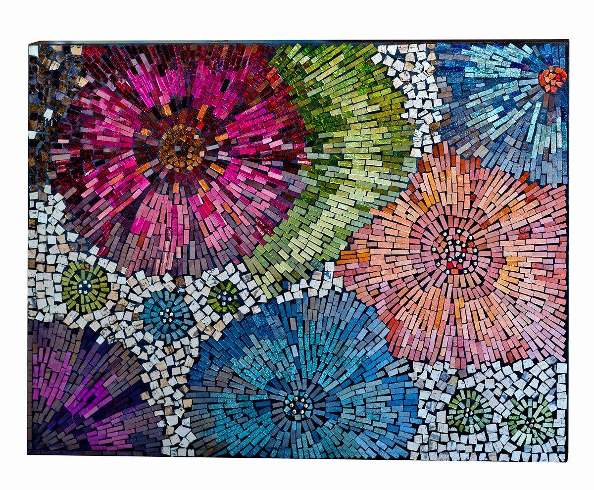 Mosaic Flower Designs Luxury Glass Mosaic Tile Art Glass Mosaic Tile Wall Art