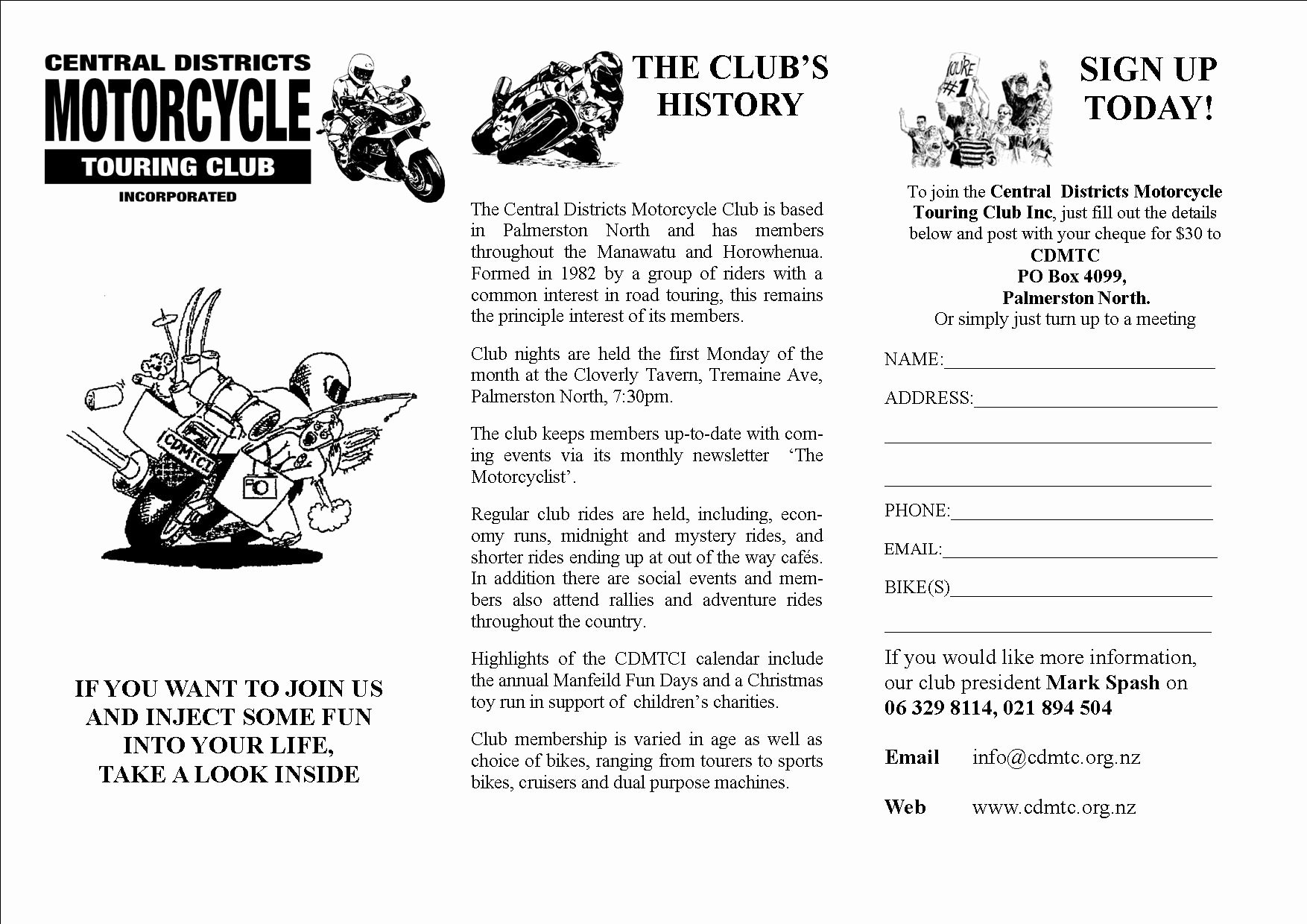 Motorcycle Club Application form Elegant Contact