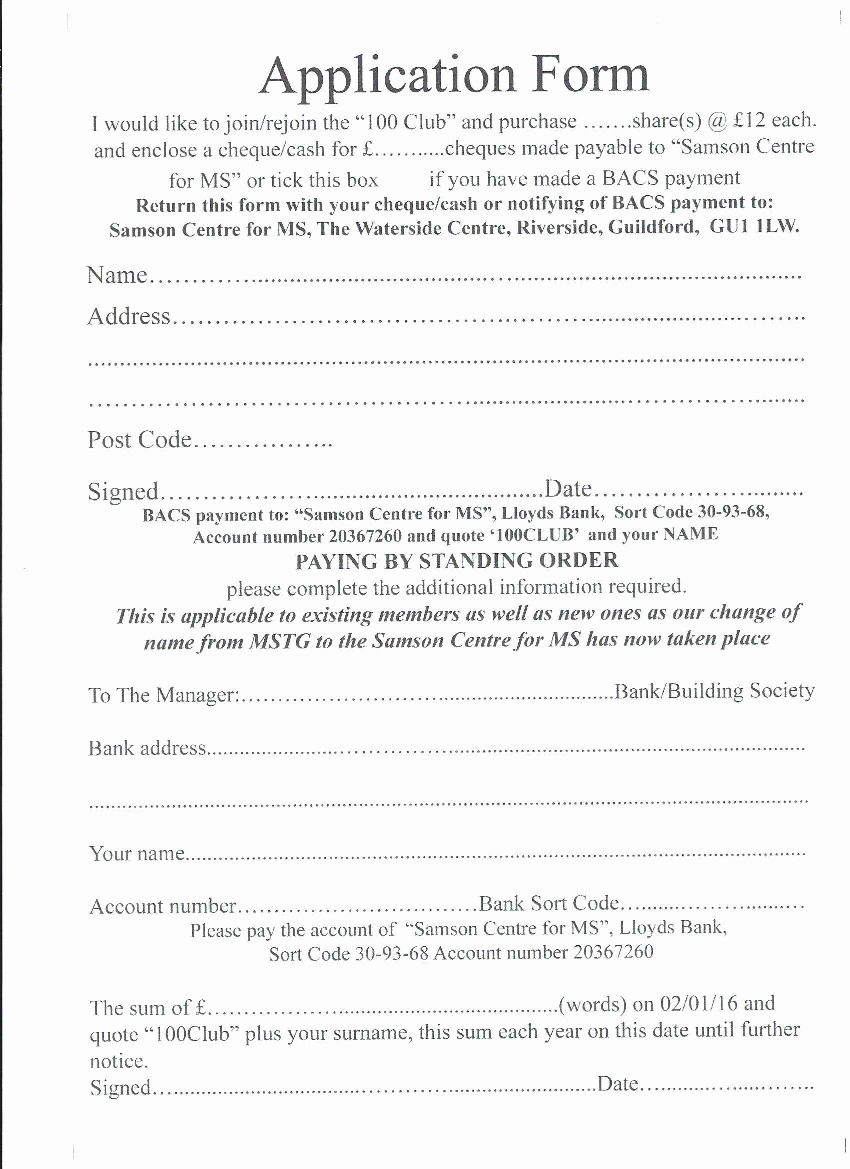 Motorcycle Club Application form Elegant the 100 Club Application form Samson Centre for Ms