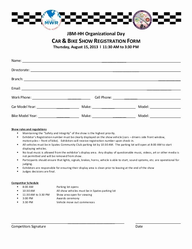 Motorcycle Club Application form Luxury Car Bike Show Registration form