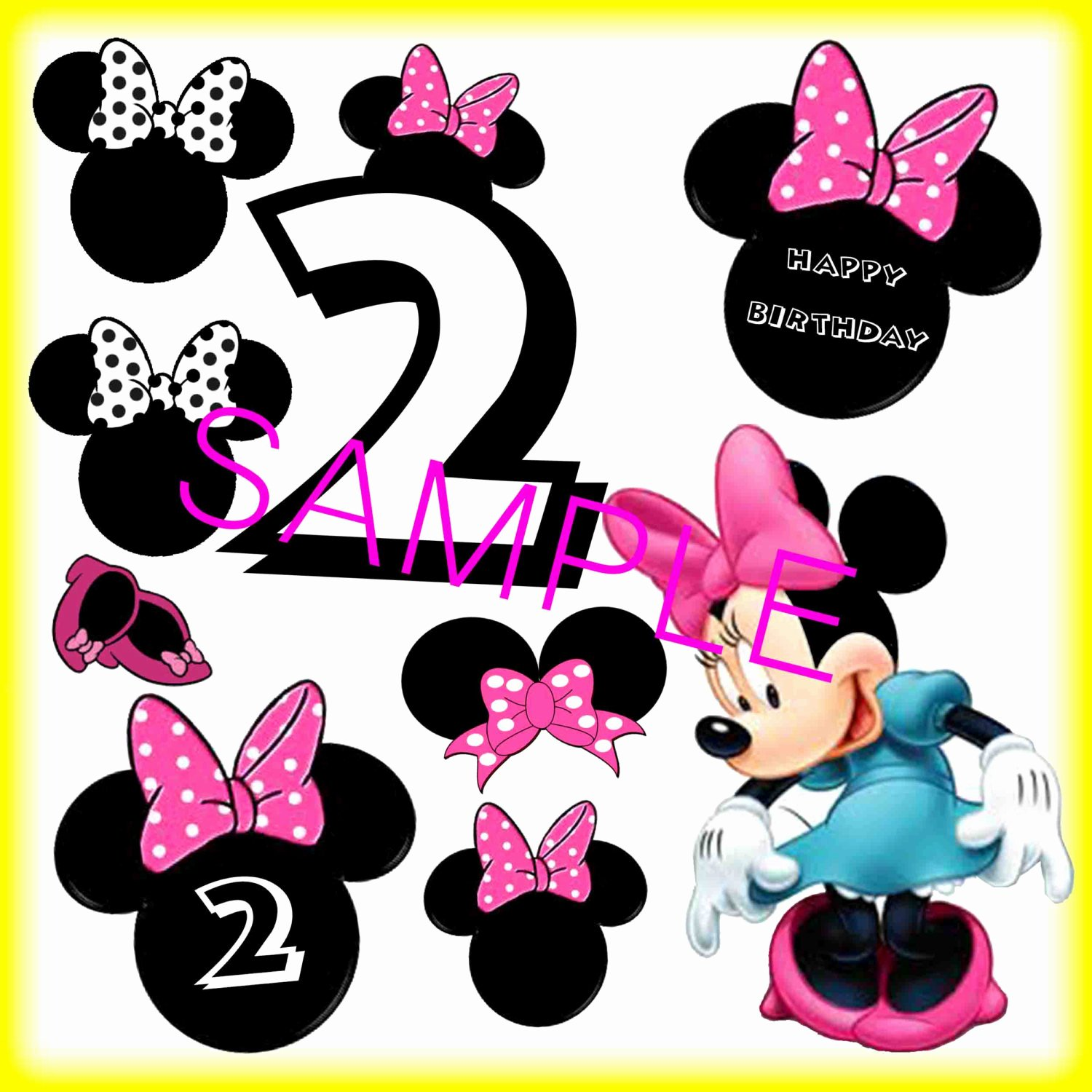 Mouse Cut Out Beautiful Digital Download Minnie Mouse 2nd Birthday Cut Outs Print