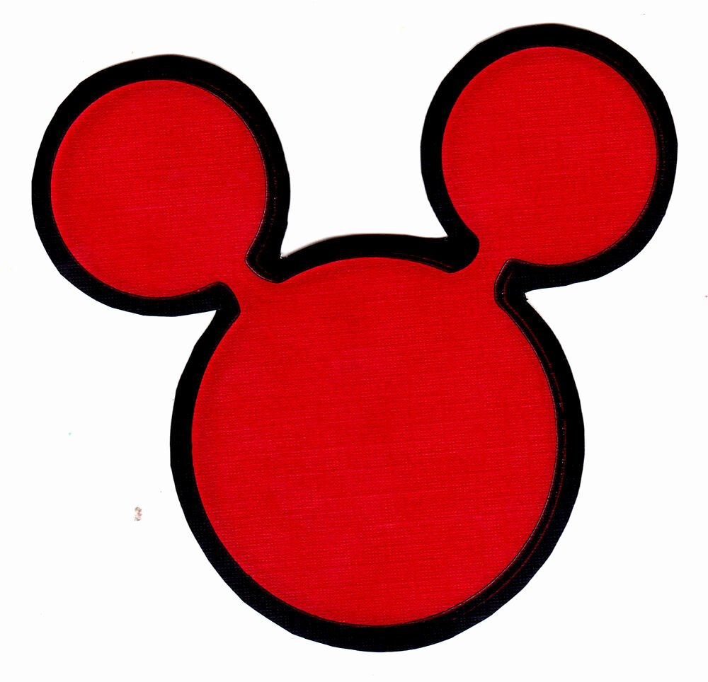 """Mouse Cut Out Inspirational 3"""" Disney Mickey Mouse Ears Red Character Prepasted"""