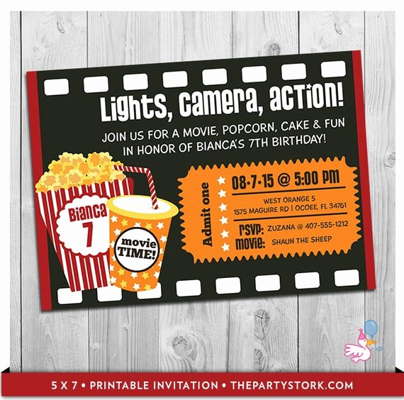 Movie Ticket Birthday Invitation Beautiful Movie Party Invitation Printable Boys or Girls Movie Invite
