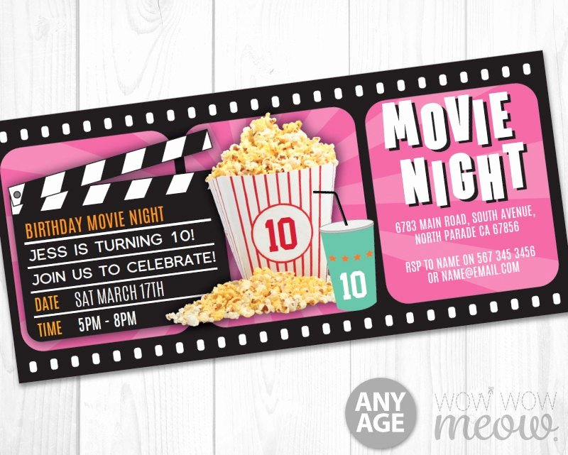 Movie Ticket Birthday Invitation Beautiful Pink Girls Movie Night Ticket Invitations Birthday Party