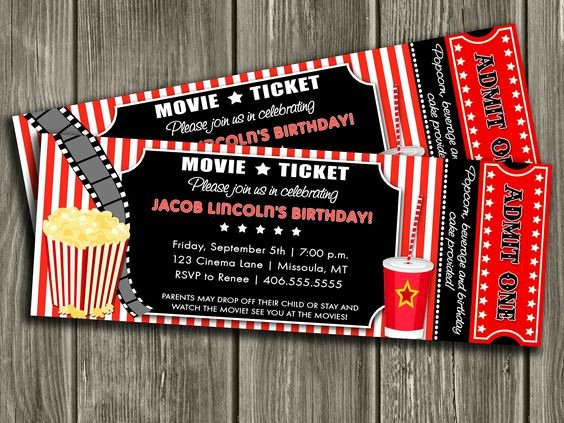 Movie Ticket Birthday Invitation Best Of Movie Ticket Invitation Free Thank You Card Included