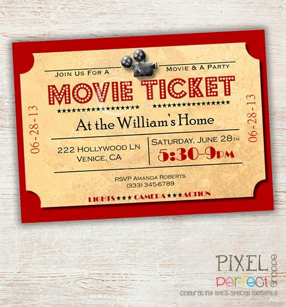 Movie Ticket Birthday Invitation Best Of the 25 Best Movie Night Invitations Ideas On Pinterest