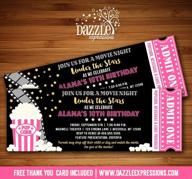 Movie Ticket Birthday Invitation Elegant Best 25 Movie Night Invitations Ideas On Pinterest