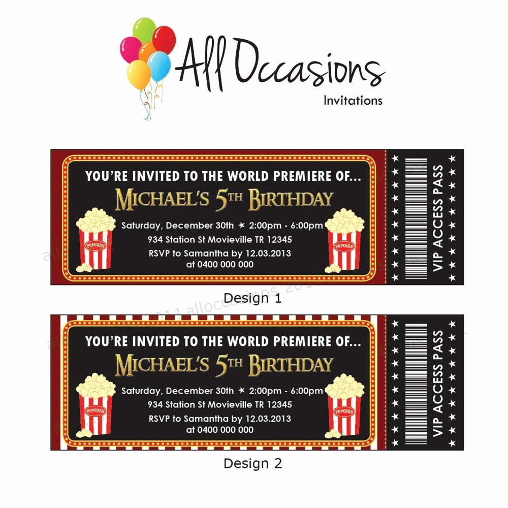 Movie Ticket Birthday Invitation Elegant Etsy Your Place to and Sell All Things Handmade