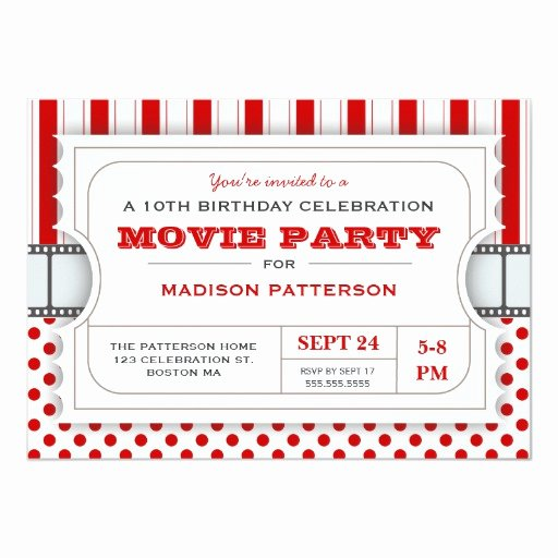 Movie Ticket Birthday Invitation Fresh Movie Party Birthday Party Admission Ticket
