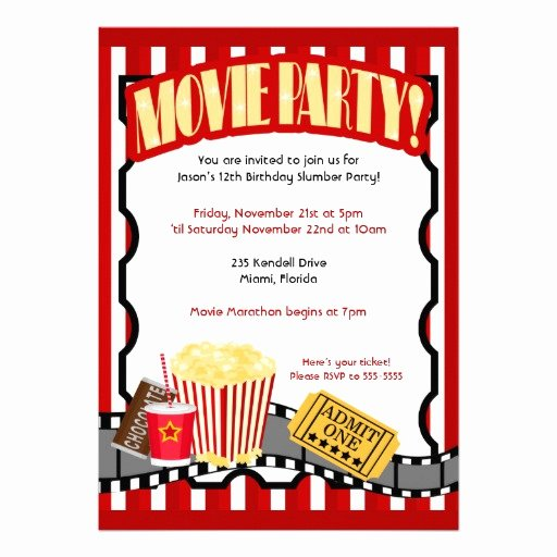 "Movie Ticket Birthday Invitation Inspirational Movie Party Ticket Birthday Invitations Updated 5"" X 7"