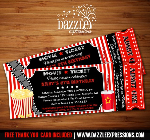 Movie Ticket Birthday Invitation Luxury Printable Movie Ticket Birthday Invitation Movie Night