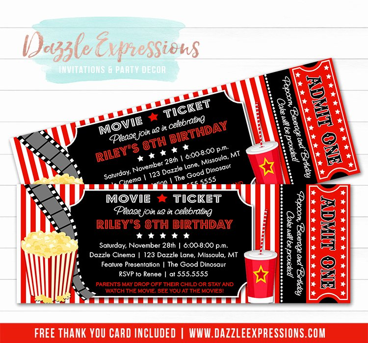 Movie Ticket Birthday Invitation Unique Printable Movie Ticket Birthday Invitation Movie Night