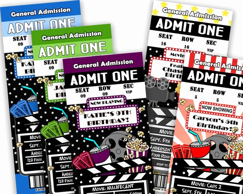 Movie Ticket Birthday Invitation Unique Printable Movie Ticket Invitation Movie Birthday Party