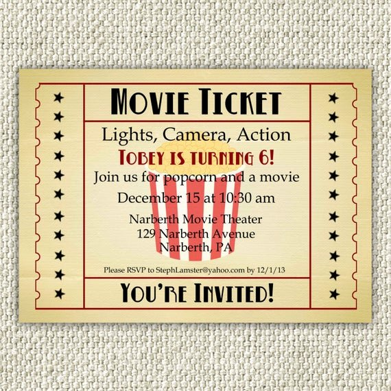 Movie Ticket Birthday Invitation Unique Vintage Movie Birthday Invitation Movie Party Invitation