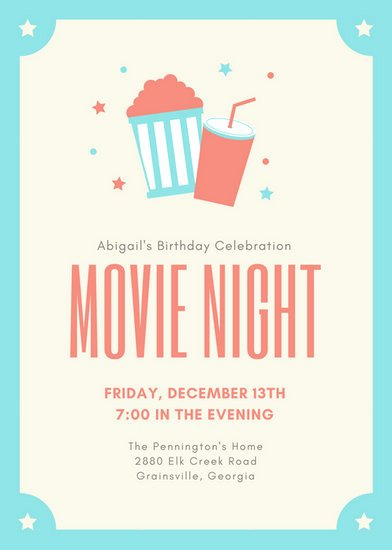 Movie Ticket Invitation Template Awesome Customize 646 Movie Night Invitation Templates Online Canva