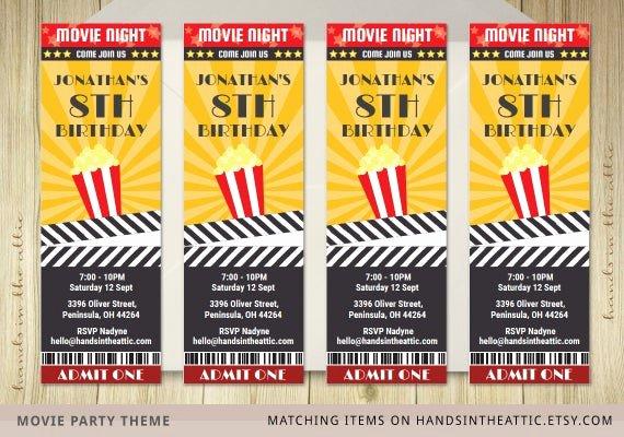 Movie Ticket Invitation Template Beautiful Movie Ticket Invite Invitation Ticket Film by Handsintheattic