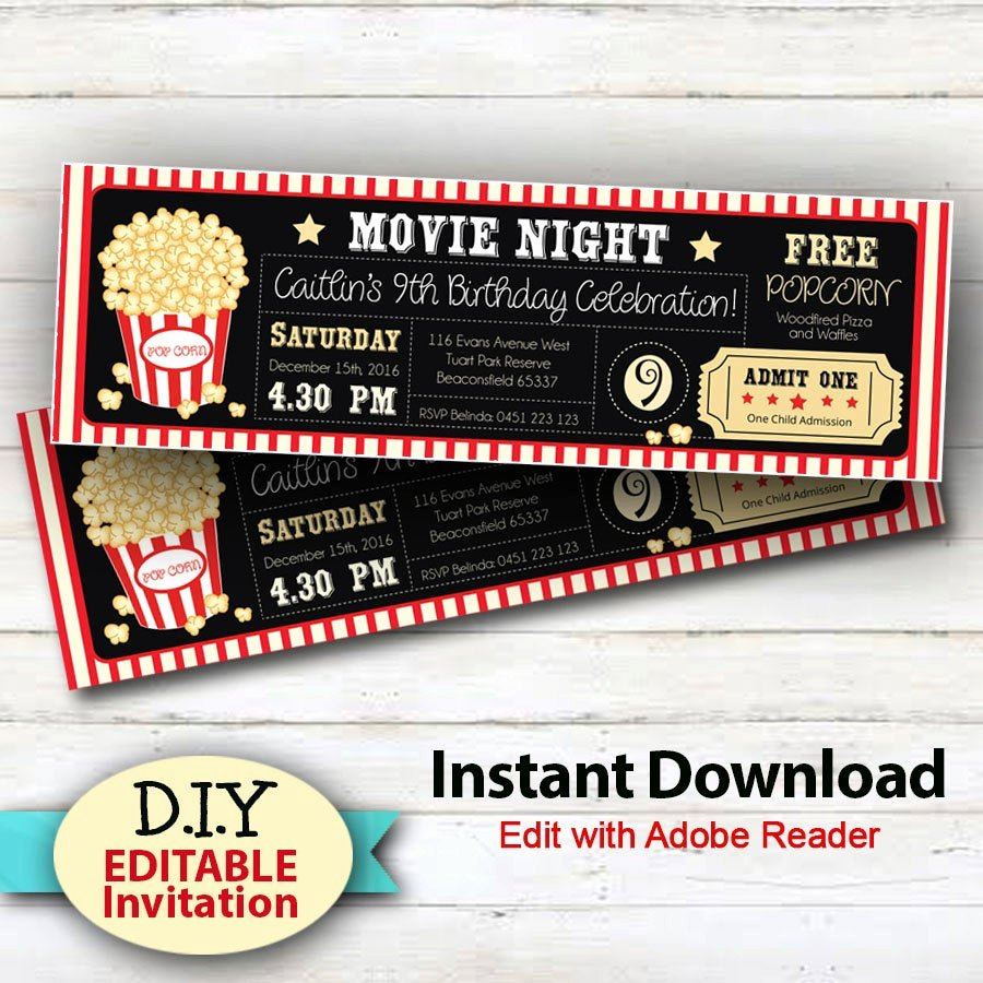 Movie Ticket Invitation Template Best Of Editable Instant Download Movie Party Invitations Boy or