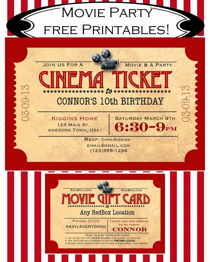 Movie Ticket Invitation Template Elegant Like Mom and Apple Pie A Summer Movies Free