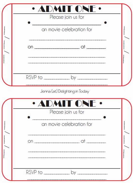 Movie Ticket Invitation Template Elegant Movie Ticket Birthday Invitations Free Printable
