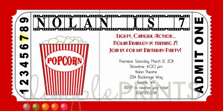 Movie Ticket Invitation Template Elegant Movie Ticket Printable Birthday Invitation Dimple Prints