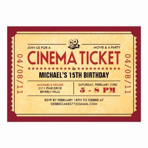 Movie Ticket Invitation Template Elegant Movie Ticket Template