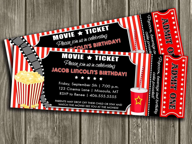 Movie Ticket Invitation Template Free Beautiful Movie Ticket Invitation Free Thank You Card Included