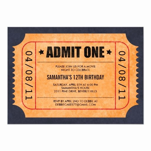 Movie Ticket Invitation Template Free Beautiful Movie Ticket Invitations