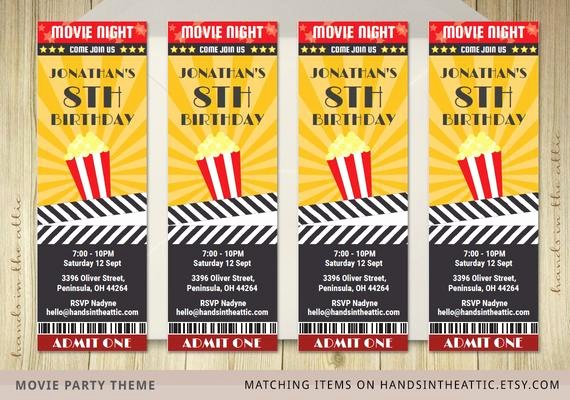 Movie Ticket Invitation Template Free Best Of Movie Ticket Invite Invitation Ticket Film by Handsintheattic