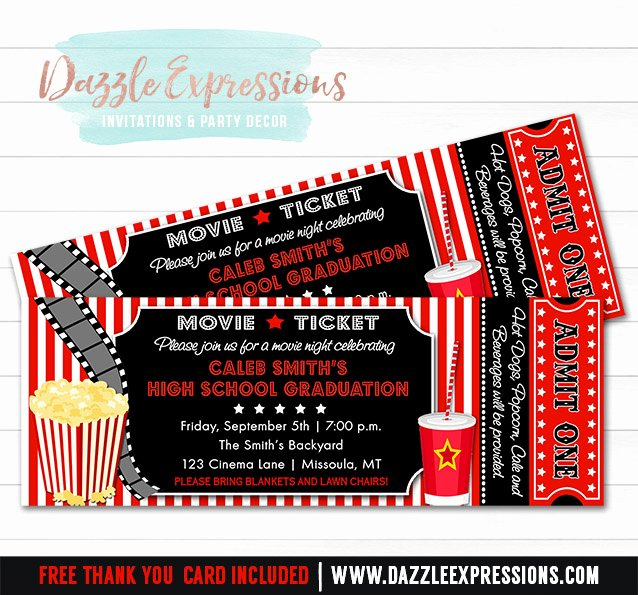 Movie Ticket Invitation Template Free Best Of Printable Movie Ticket Graduation Party Invitation 8th