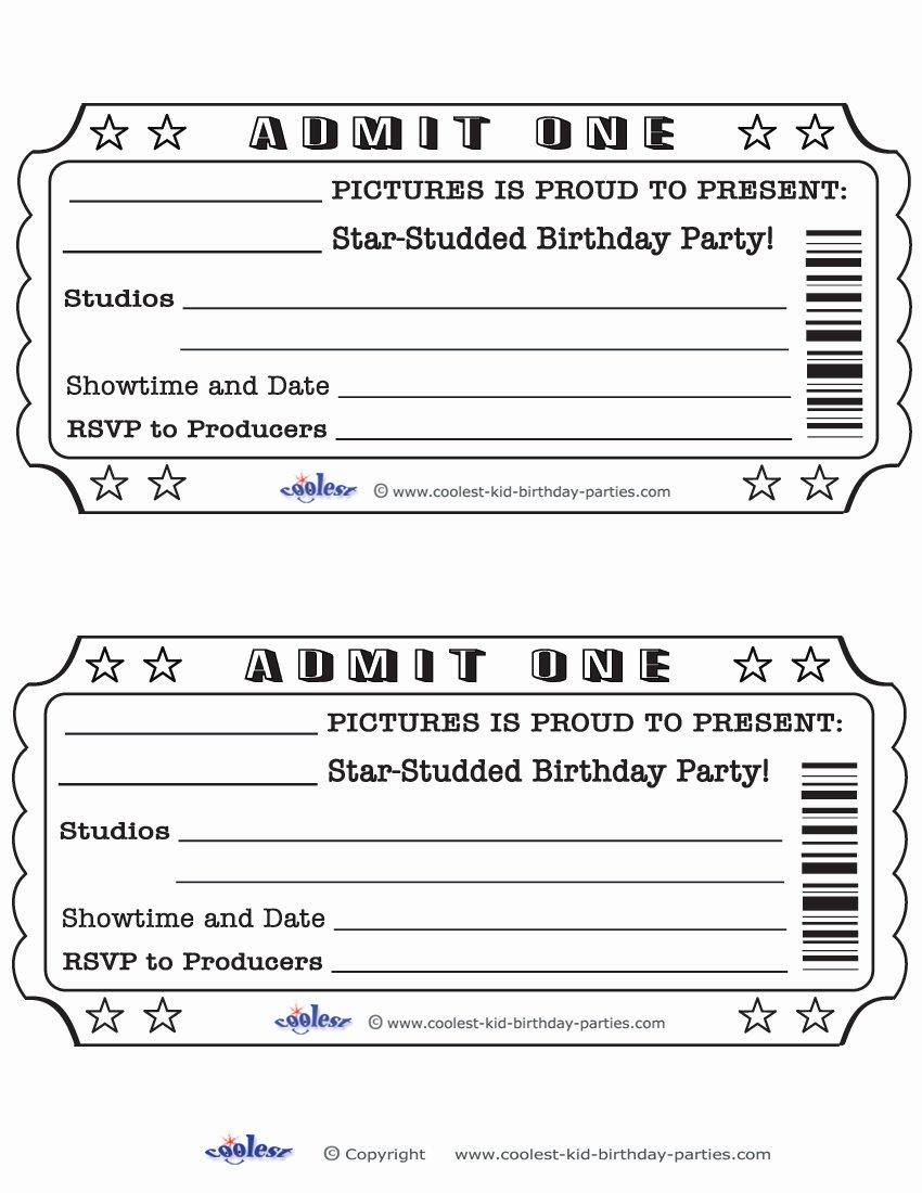 Movie Ticket Invitation Template Free Fresh Blank Movie Ticket Invitation Template Free Download Aashe